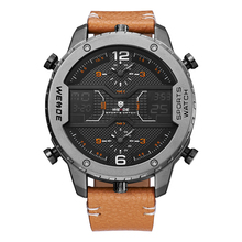 WEIDE Fashion Mens Analog Watch Three Time Zone Digital Calendar Sport Date Quartz Brown Leather Strap Buckle Wristwatches(China)