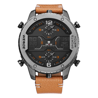 WEIDE Fashion Mens Analog Watch Three Time Zone Digital Calendar Sport Date Quartz Brown Leather Strap