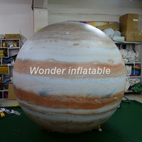 Customized 2mD LED hanging inflatable Jupiter balloon solar system planet for event decoration