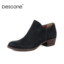 BESCONE Stylish Round Toe Square Heel Women Ankle Boots Basic Handmade 3.5 cm Med Shoes Casual Slip-On Ladies BY25