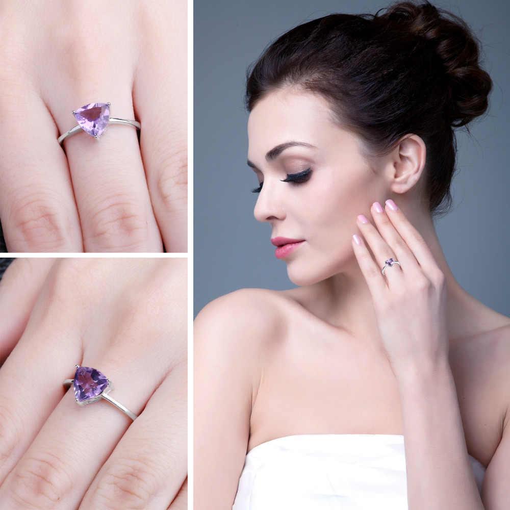 JewelryPalace oryginalne pierścionek z ametystem pasjans 925 Sterling Silver Rings dla kobiet zaręczyny pierścień ze srebra prób