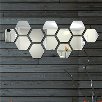 12Pcs Set D12cm 4 Kinds Color Acrylic Hexagon Mirro Surface Wall Sticker Bedroom Study Room Home