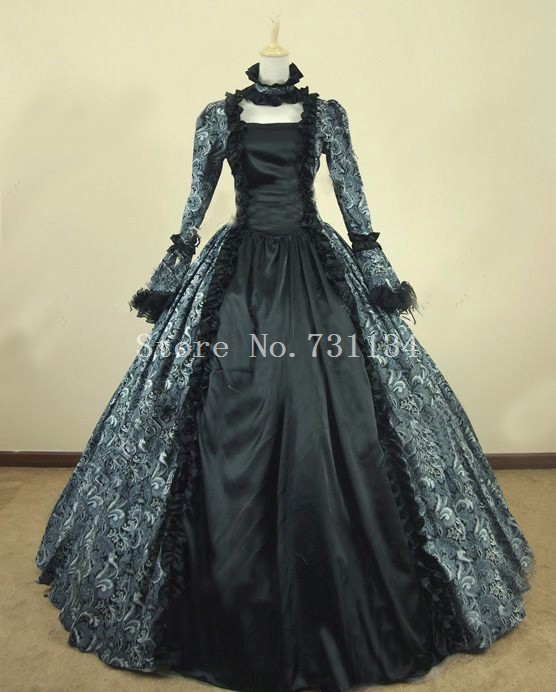 Victorian Maid Black Velvet Gown Dress Reenactment Steampunk Clothing 134