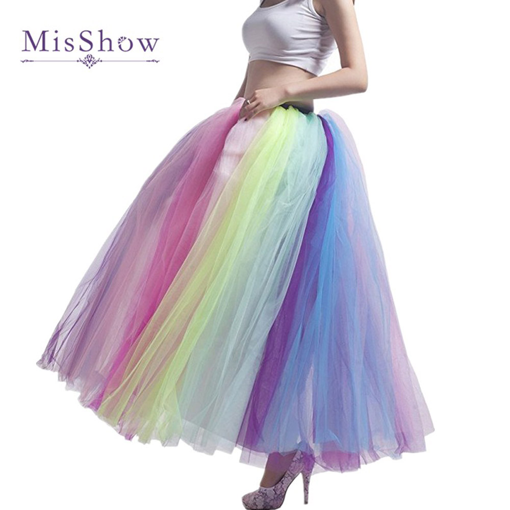 In Stock Women Petticoat  Rainbow Long Floor Length 100cm Wedding Accessories Tulle Underskirt A Line Bridesmaid Petticoat Skirt
