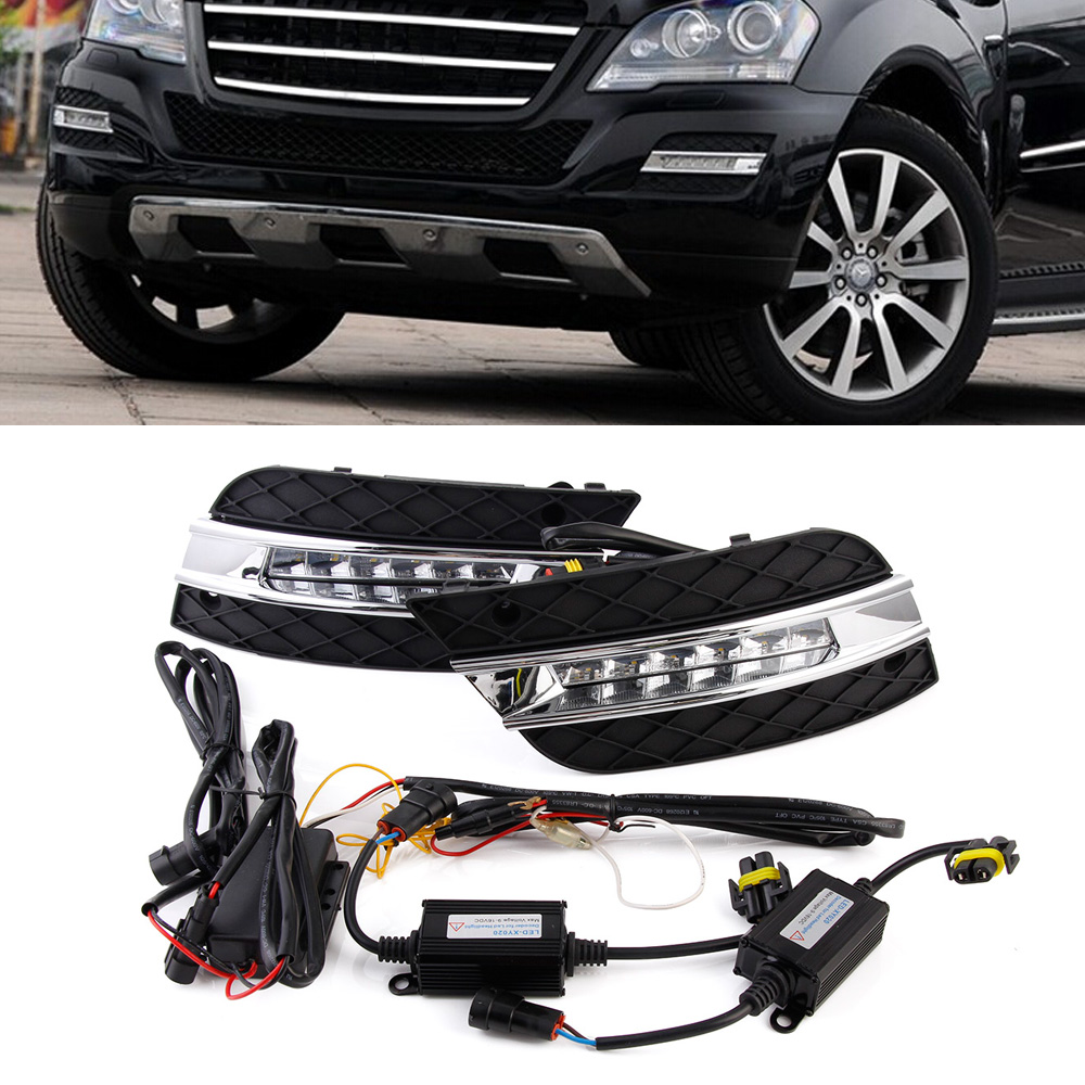 Auto Car Lights LED DRL Daytime Running Light For Benz ML350 ML280 ML300 ML320 ML500 10-11 2pcs/set auto fuel filter 163 477 0201 163 477 0701 for mercedes benz