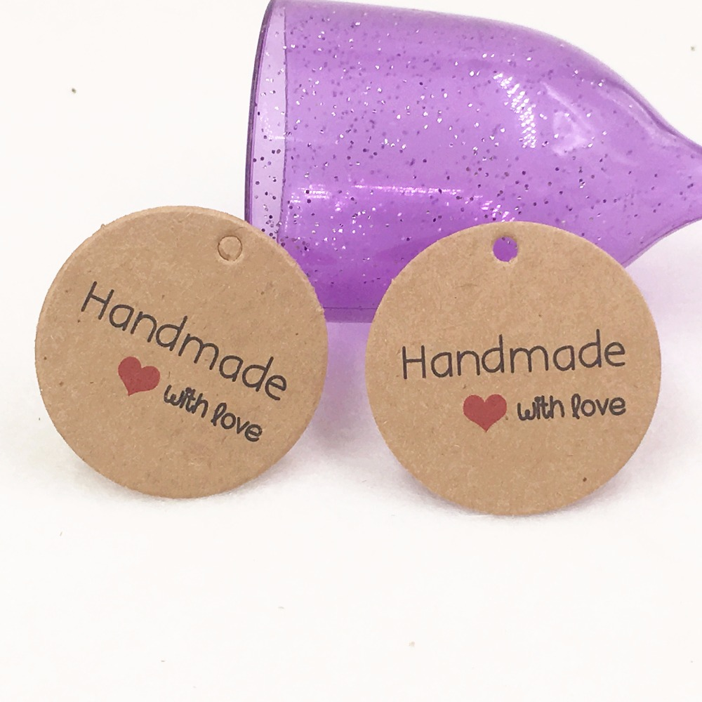 100pcs/lot 1.38inch  Kraft Paper Hand Made Tag With Love Christmas Gift Box Tag Candy Cupcake Handmade Favors Name Brand Tag