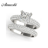 AINUOSHI 925 Sterling Silver White Gold Color 4 Prongs Women Ring Sets 1.5ct Princess Cut Engagement Anniversary Ring Sets Gift