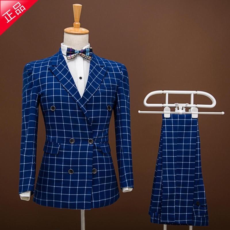 Slim casual plaid double breasted suit Fashion Custom Men suits jacket pants slim blue grid men