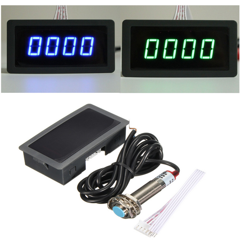 High Precision 4 Digital Blue&Green LED Tachometer RPM Measurement Tester Car Motor Speed Meter+Proximity Switch Sensor 12V 012602 motor speed sensor module w switch deep blue