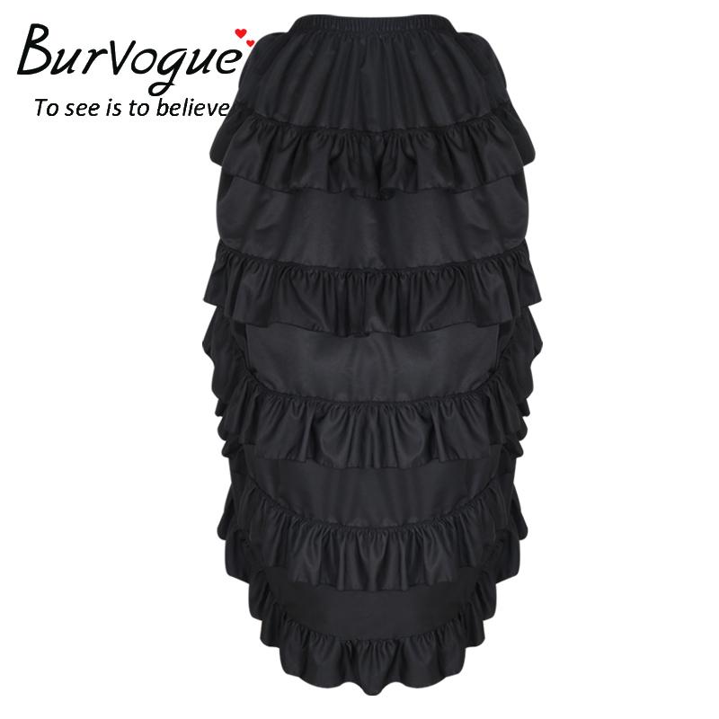 2019 Burvogue Women Satin Fashion Skirt Irregular Long Gothic Skirt ... 2f42f3412