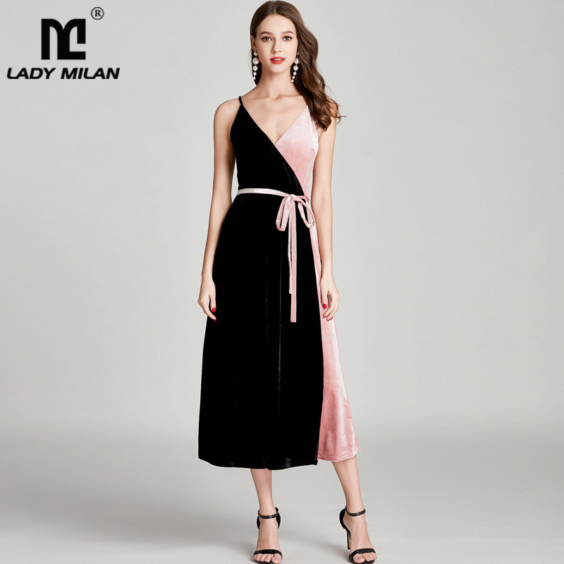 New Arrival Womens Sexy Spaghetti Straps Color Block Patchwork Fashion Velour Mid Calf Party Casual Dresses