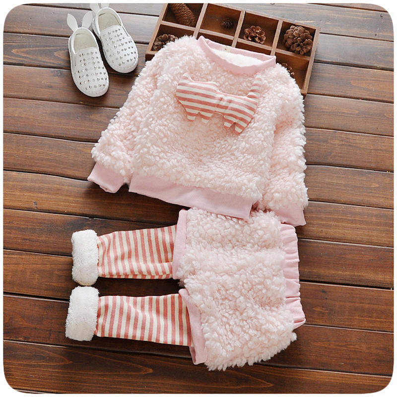 Children Baby Girl Clothing Set Toddler Girl Winter Warm Clothes Baby Pink Striped Fur Coat + Leggings Suit Kids Flannel Clothes