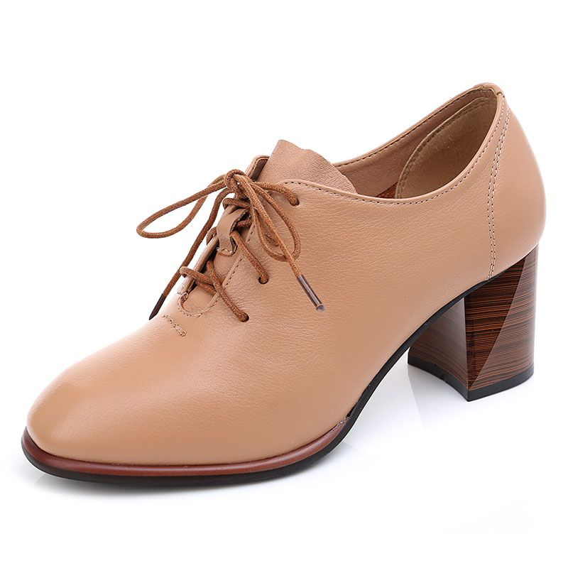 GKTINOO Genuine Leather Shoes Women Pumps High Heels Lace Up Ladies Shoes Spring Thick High Heel