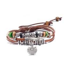 Fashion Jewelry Leather Bracelet Women Casual Personality Alloy owl pendant Beaded hand made Vintage Punk Bracelet Men Gift