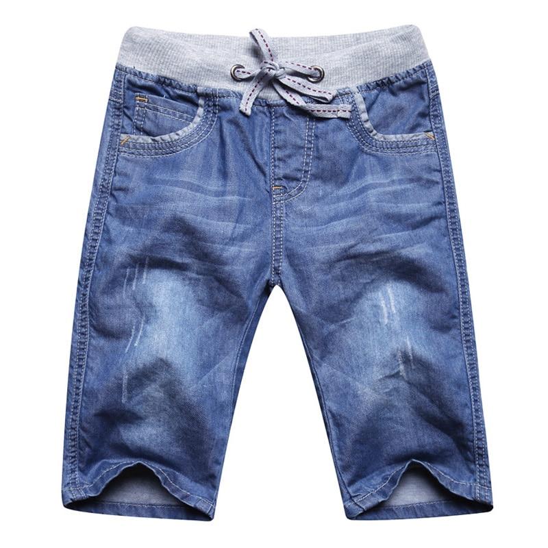 summer boys jeans denim shorts 50% length soft boys jeans