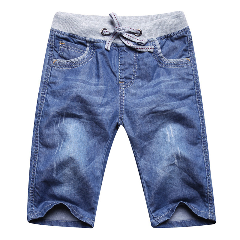 summer boys jeans denim shorts 50% length soft boys jeans kids knee length elastic waist boy jeans shorts DQ333