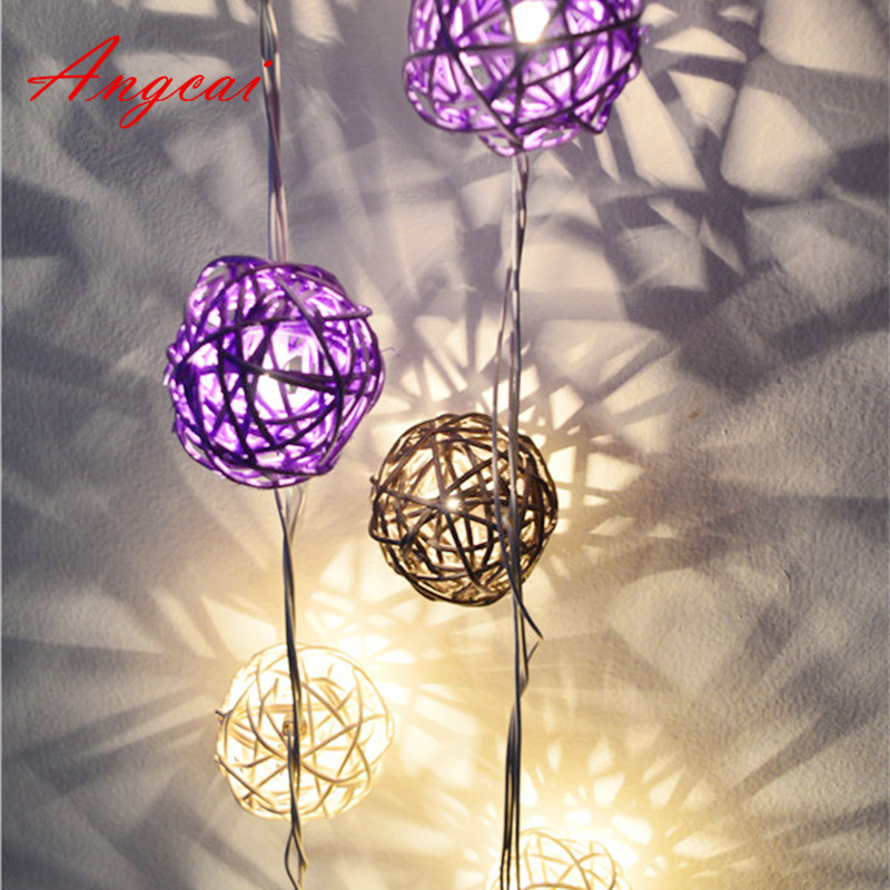 New Lavender Purple Gray White Mixed Handmade Rattan Wicker Balls String Lights Romantic Fairy Party Garland Patio Decor