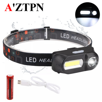 LED Headlamp Outdoor camping Portable mini XPE+COB LED Headlamp USB charging Fishing headlights flashlight