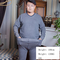 Autumn Winter Fat people Men's V-neck Large size plus  thin section of thermal Quality cotton underwear One set 5XL/6XL/111007