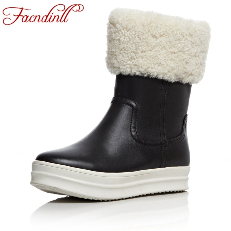 FACNDINLL genuine leather womens boots comfortable women snow boots round toe flat platform shoes warm plush winter ankle boots
