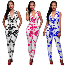 Herfst Hot 2020 Sexy Print Bodycon Jumpsuits Vrouwen V-hals Mouwloos Jumpsuits Dames Lace Up Lange Jumpsuits(China)