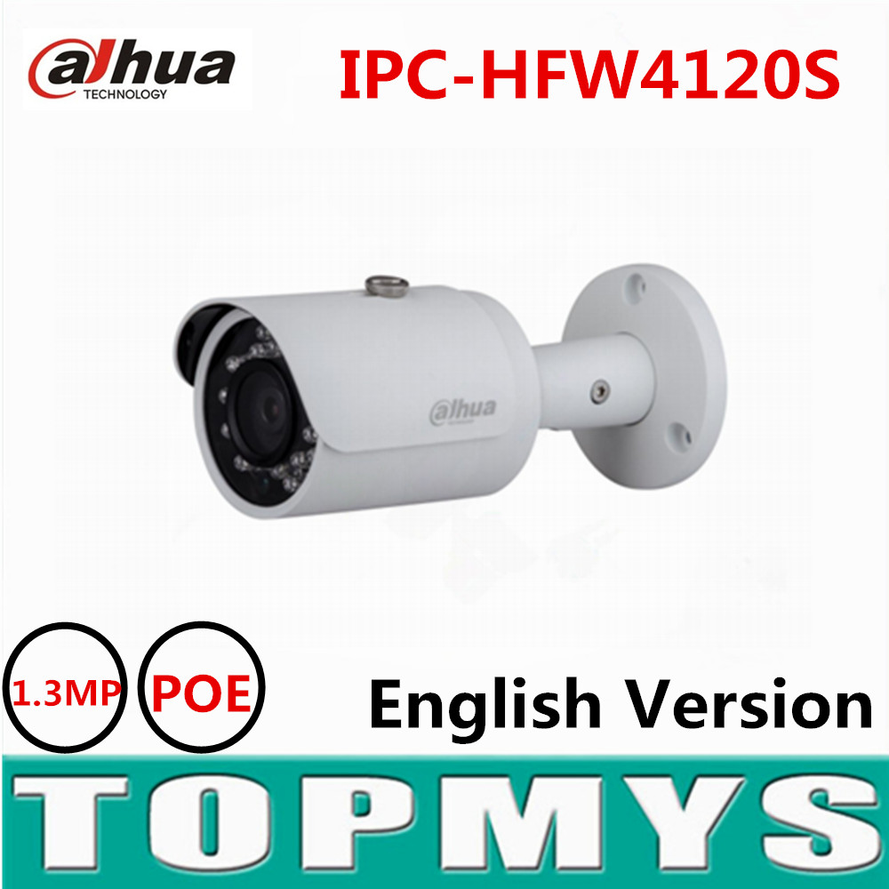Dahua 1.3MP HD Network Small IR Bullet Camera original english version POE 720P full HD CCTV Security IP Camera IPC-HFW4120S free shipping dahua ipc hfw4300s ir hd 1080p ip camera security outdoor 3mp full hd network ir bullet camera support poe