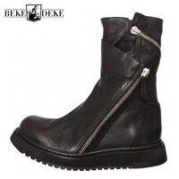 Черный натуральная кожа, для панков мужские ботинки модные молния дизайн мотоциклетные обувь для верховой езды мужские Нескользящие на пла