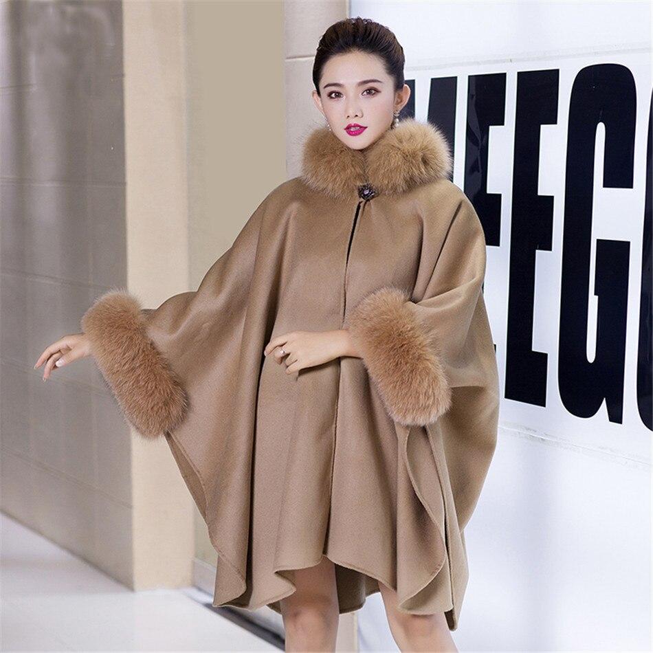 Кашемировое пальто цвета хаки, коричневого пашмины, шали из пашмины с меховой палантин, шерстяной шарф, воротник из лисьего меха, пончо, верх