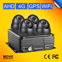 4G GPS WIFI 720P AHD 4CH MOBILE DVR KITS FREE SHIPPING 4PCS INDOOR VEHICLE CAMERA MDVR