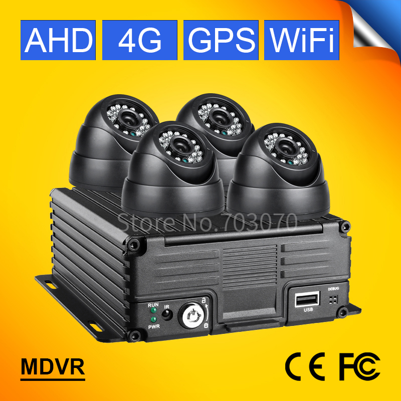 4G GPS WIFI 720P AHD 4CH MOBILE DVR KITS FREE SHIPPING 4PCS INDOOR VEHICLE CAMERA MDVR PC IOS ANDROID REMOTE VIDEO SOFTWARE FREE image