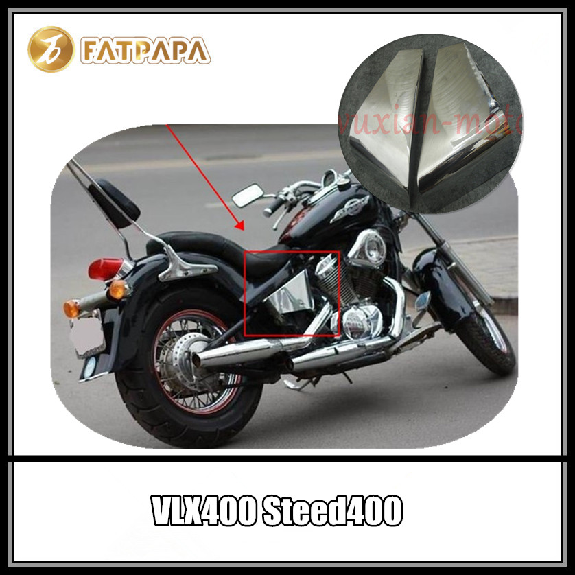 цена на Motorcycle Accessories Metal plating silver battery cover side dedicated Fit For Honda VLX400 Steed400