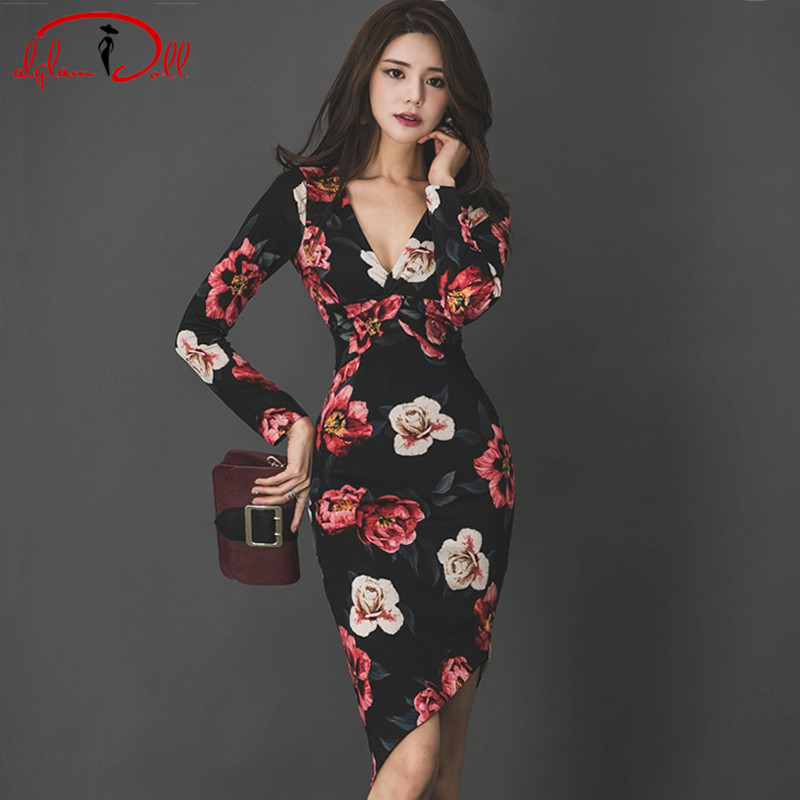 OL Genou-Longueur V-cou Sexy Imprimer Robes Femmes Irrégulière Tissu Moulante Gaine Floral Crayon Parti Robe 2018