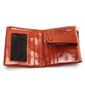 Image 4 - Women Genuine Leather Wallet Mini Card Holder Ladies Oil Wax Hasp Short Wallets Purse Coin Bags
