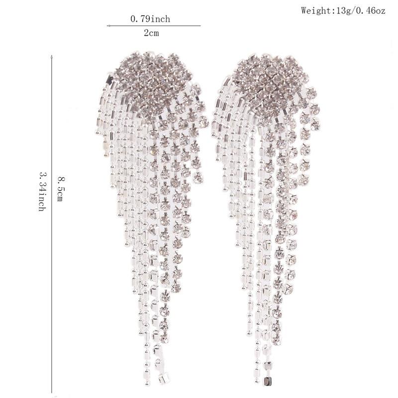 Grace Jun New Arrival Big Heart  Shape Tassel Rhinestone Clip on - Fashion Jewelry - Photo 2