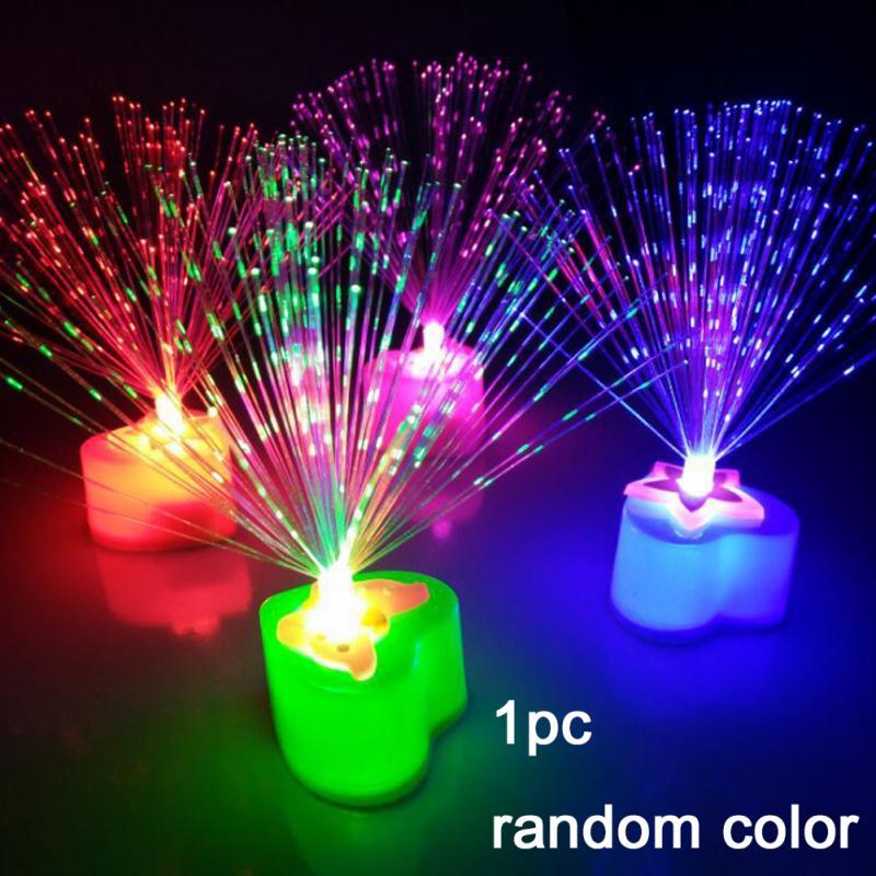 Home Bedroom Fibre Optic Candle Night Light Love Shape Decoration Room Decor Gift Plastic