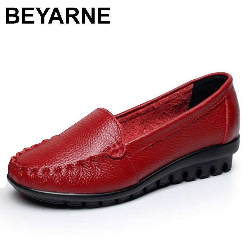 BEYARNE Women Genuine Leather Shoes Casual slip-on Ballet Women Flats Cut Out Solid Moccasins Ladies Shoes Spring Summer