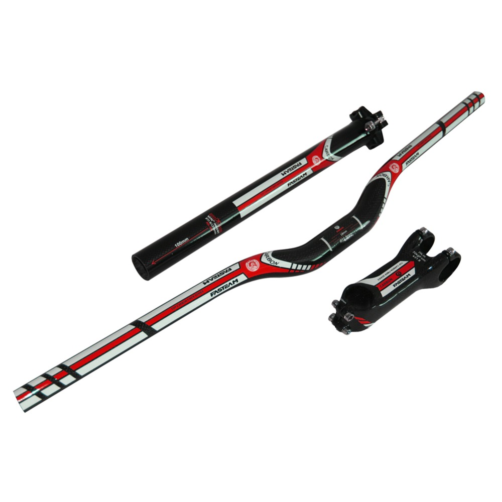 Full Carbon Bike Handlebar sets with Seatpost/Stem Cycling Riser Handlebar MTB Mountain Bicycle Handlebar One sets specials original cycling king c k red white carbon fiber bike handlebar bicycle stem carbon seatpost tube one mountain bar