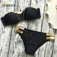 Oiyeefo Gold Metallic Bordered Bikini Bandeau Push Up Swimsuit Sexy Black MAY Beach Bather Bathing Suits