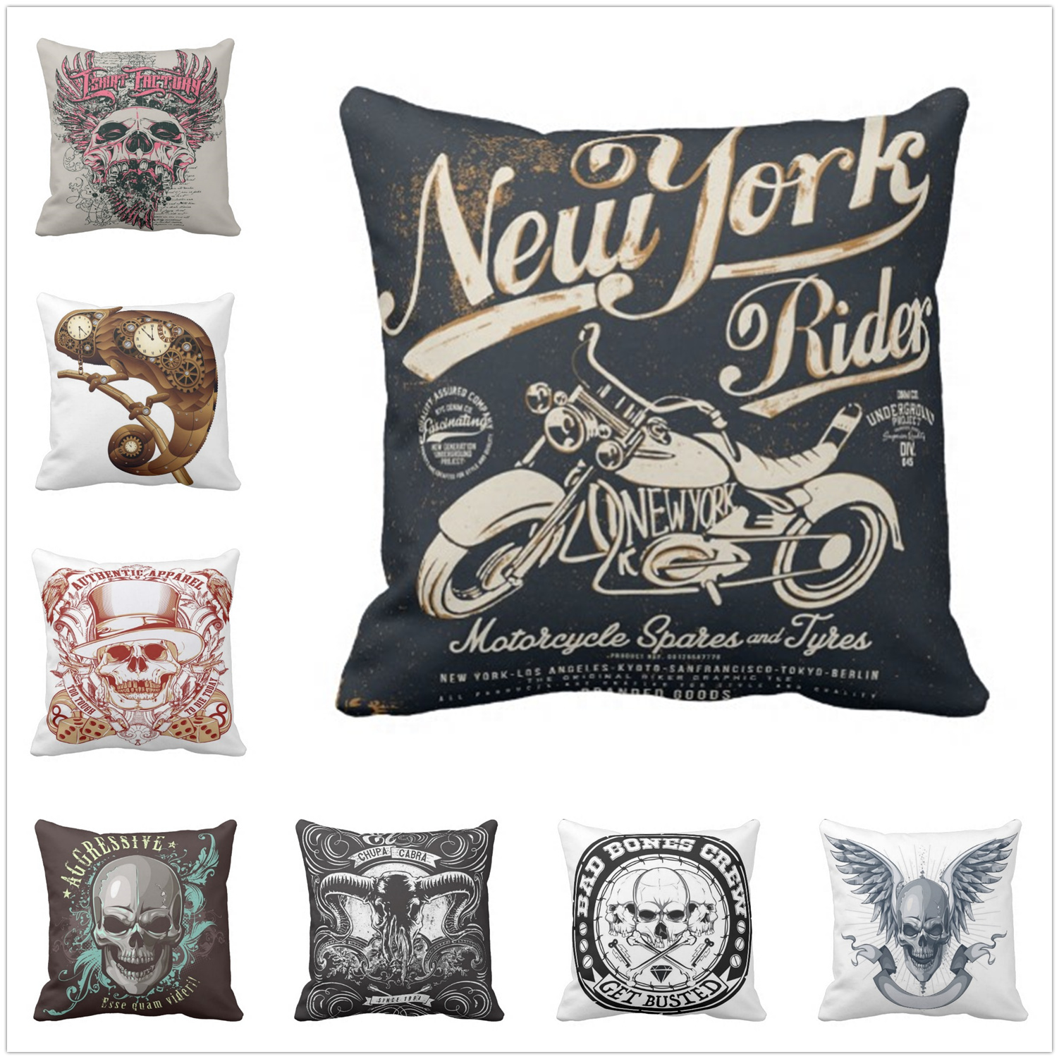 Pillow case Punk Skull Cushion Cover Cotton polyester 5 Size Printed Throw Pillows Decorative