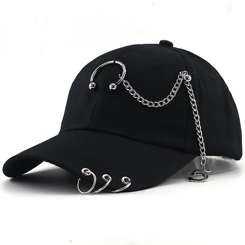 Hip Hop Baseball Cap With 100% Hand Made Iron Chain Fashion Dad Hat Casual Sports Snapback Hats Unisex