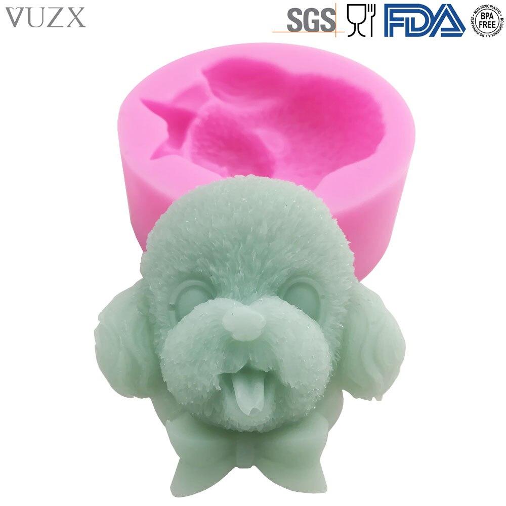 FDA Food Grade Cute Poodle Head Shape Silicone 3D Fondant Cake Mold Dog Silicon Chocolate Candy Soap Arts Crafts Concrete Mould