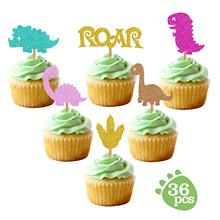 METABLE (24 Pack) Glitter Dinosaur Cupcake Toppers for Kids Birthday Baby Shower Party Decorations Supplies