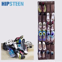 24 Pockets Hanging Over Door Holder Shoes Nonwoven Fabric Mesh Organizer Storage Wall Closet Bag Brown