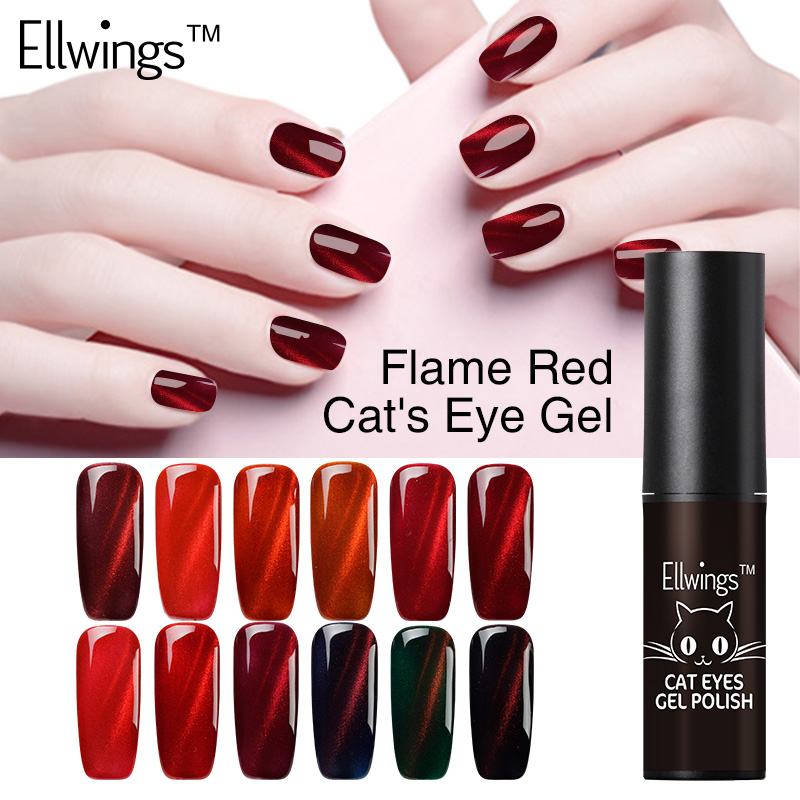 Ellwings 1pcs 2017 Nyeste Fire Red Cat Eye Nail Gel Polsk Soak Off Uv Gel Lakk 3D Shining Colors Magnet DIY Gellakk