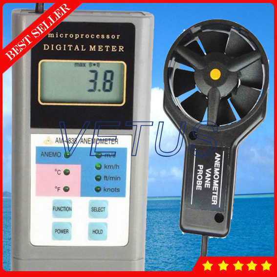 AM-4838 Digital Wind measuring instruments with Anemometer Air Flow Anemometer (0.4-30m/s) white v neck tie front embellished sexy crop
