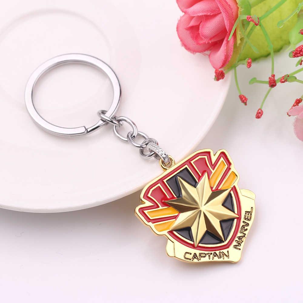 Surprise Captain Shield พวงกุญแจเคลือบผู้ชายผู้หญิงพวงกุญแจทอง Wonder Woman โลโก้ Mark Key chain แหวนจัดส่งฟรี