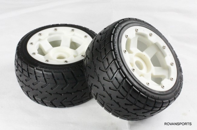 5B baja  rear road tires set  with nylon hub  85030-1 billet rear hub carriers for losi 5ive t