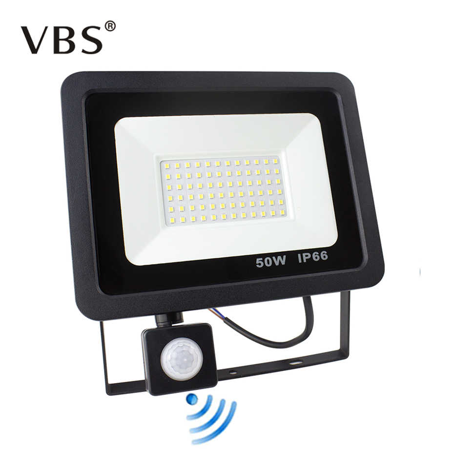 PIR Motion Sensor LED Flood Light 10W 20W 30W 50W 220V Floodlights Lamp IP66 Waterproof Reflector Projector Outdoor Spot Light