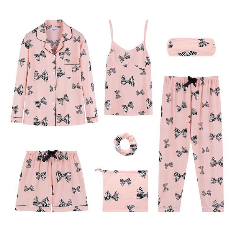 Women Pajamas 7pcs Set Sexy Imitation Cotton Pyjamas Set Loose Coat+Camisole+long Pant+short Pant and Hair Rope Women Nightwear