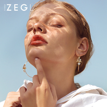 ZEGL personality exaggerated earrings temperament letter big circle earringsrs